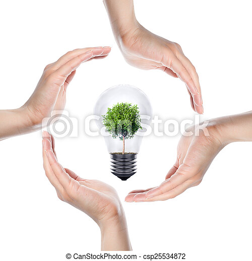 Human hands making a circle on white background - csp25534872