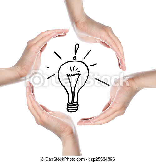 Human hands making a circle on white background - csp25534896