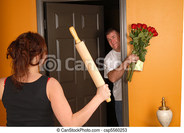 Husband coming home late to angry wife - csp5560253