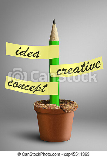 Idea creative concept, pencil with stickers as plant in pot - csp45511363