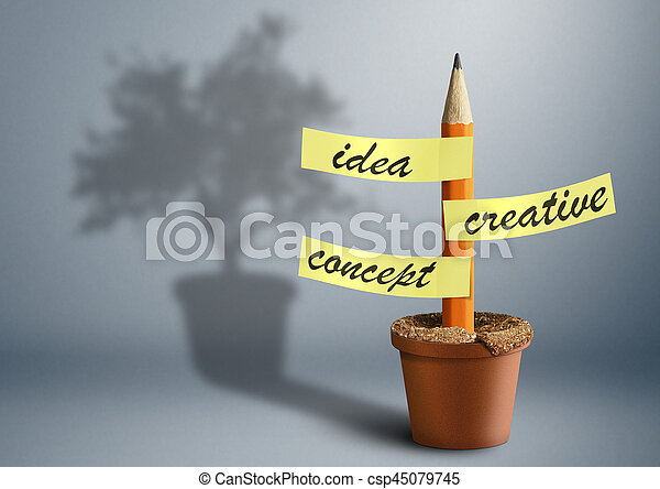 Idea creative concept, pencil with stickers as tree in pot - csp45079745