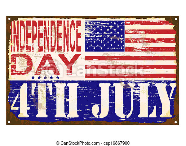 Independence Day Enamel Sign [Converted] - csp16867900
