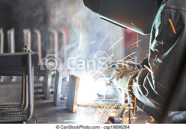 Industrial worker welding - csp19896264