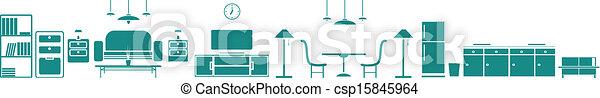 Interior Banner set .with furniture - csp15845964