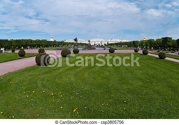 Landscape design in garden with trees and bushes - csp3805756