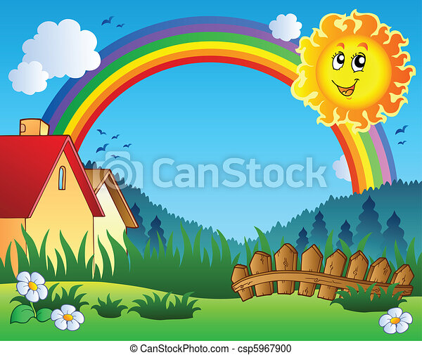 Landscape with Sun and rainbow - csp5967900