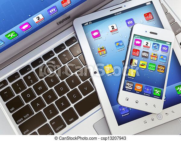 Laptop, mobile phone and digital tablet pc - csp13207943