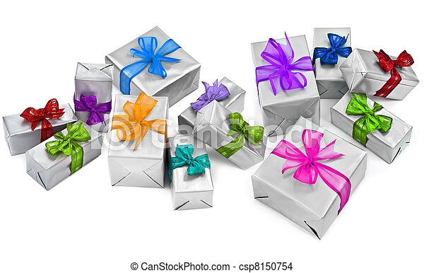 large group of christmas presents - csp8150754