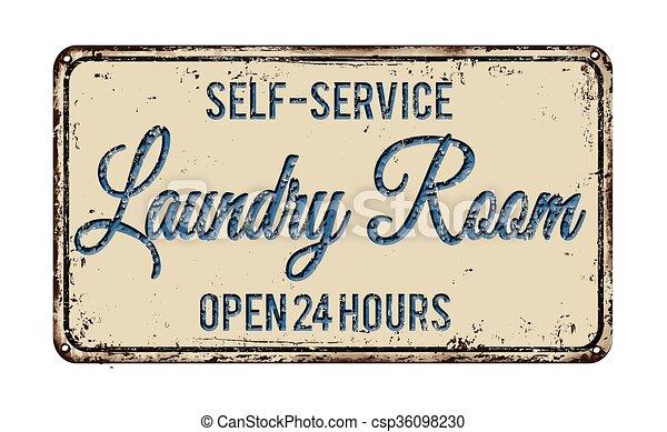 Laundry room rusty metal sign - csp36098230
