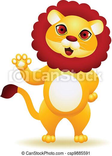 Lion cartoon waving hand - csp9885591