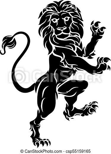Lion Standing Rampant Heraldic Coat of Arms Crest - csp55159165
