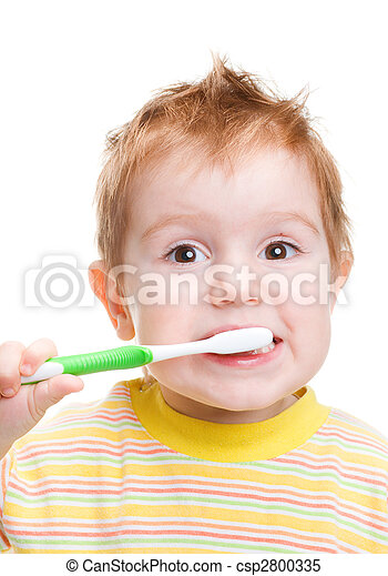 Little child with dental toothbrush brushing teeth. isolated - csp2800335