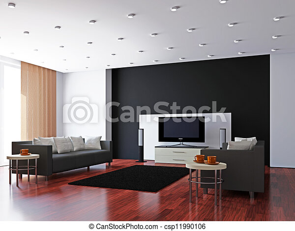 Livingroom with furniture and a TV - csp11990106