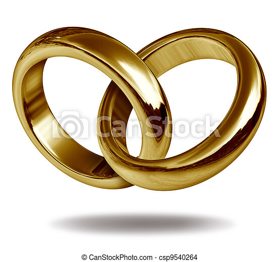 Love Rings in a Gold Heart Shape - csp9540264
