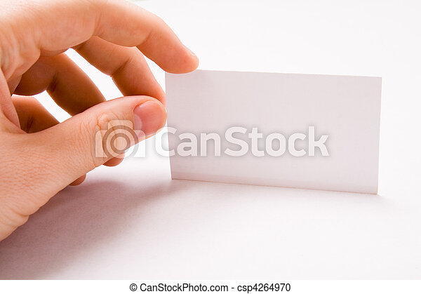 Male hand holding blank business card - csp4264970