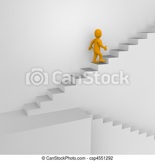 Man and stairs. 3d rendered illustration. - csp4551292