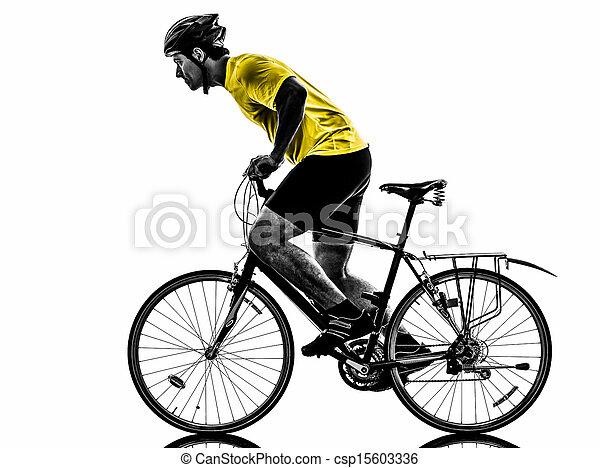 man bicycling mountain bike silhouette - csp15603336