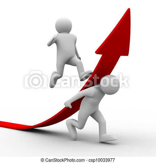 man climb red arrow. Isolated 3D image - csp10033977