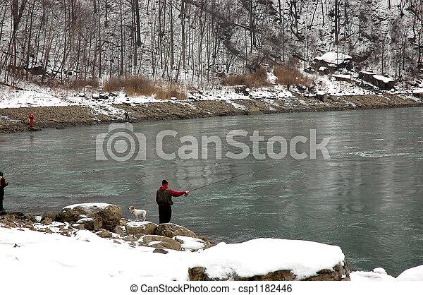 Man Fishing in Niagara - csp1182446