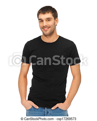 man in blank black t-shirt - csp17269573