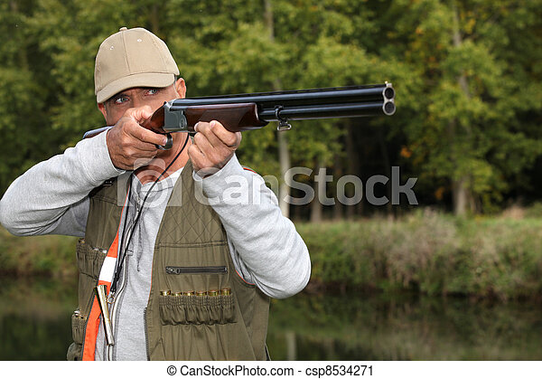 Man out hunting - csp8534271
