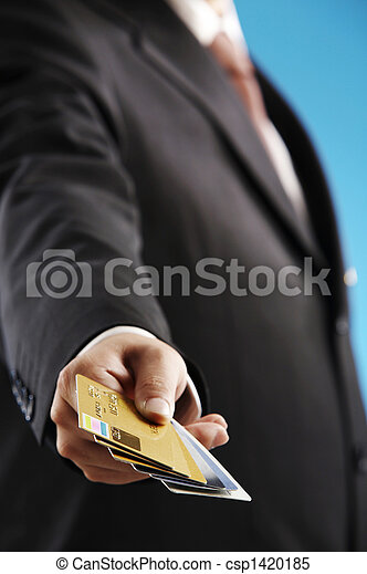 man show numerous of credit cards - csp1420185
