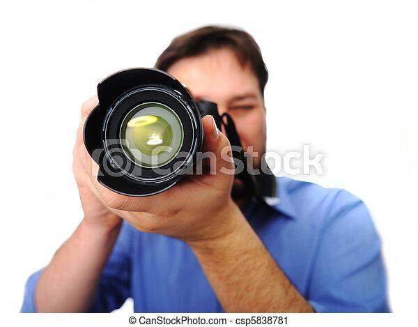 man with camera - csp5838781