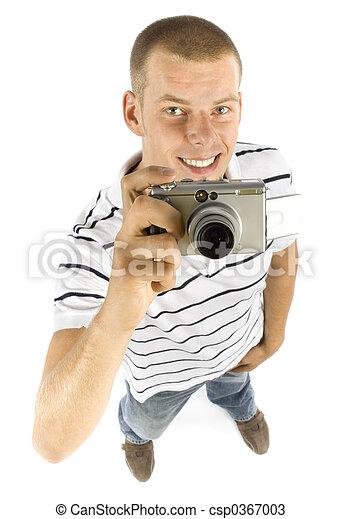 man with digital camera - csp0367003