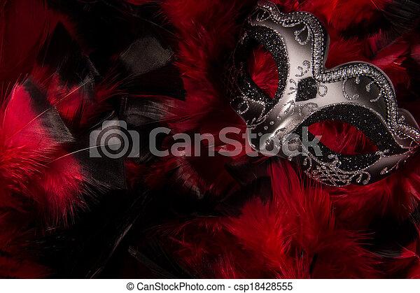Mardi Gras Mask on Feathers - csp18428555