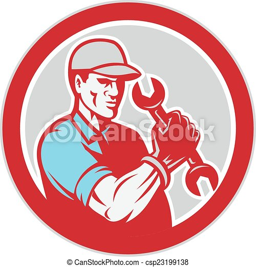 Mechanic Holding Spanner Wrench Circle Retro - csp23199138