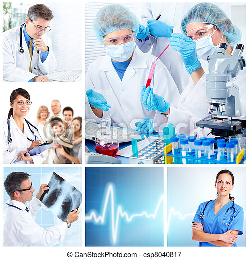 Medical doctors in a laboratory. Collage. - csp8040817