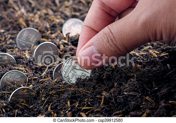 Money growth concept coins in soil - csp39912580