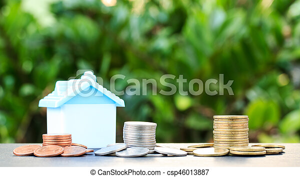 Money growth concept coins in soil .Collect money to build a house. - csp46013887