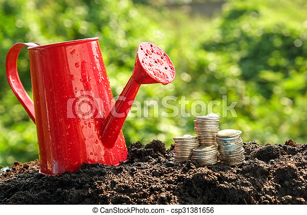 Money growth concept coins in soil - csp31381656