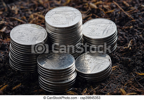 Money growth concept coins in soil - csp39845353
