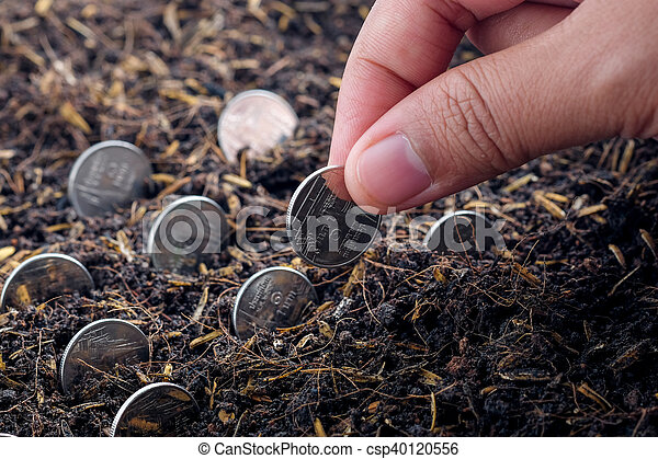 Money growth concept coins in soil - csp40120556
