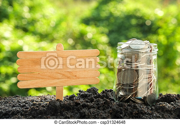 Money growth concept coins in soil - csp31324648