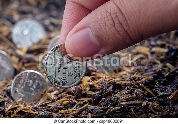 Money growth concept coins in soil - csp40602891