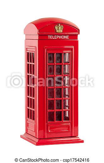 Moneybox representing red british telephone booth - csp17542416