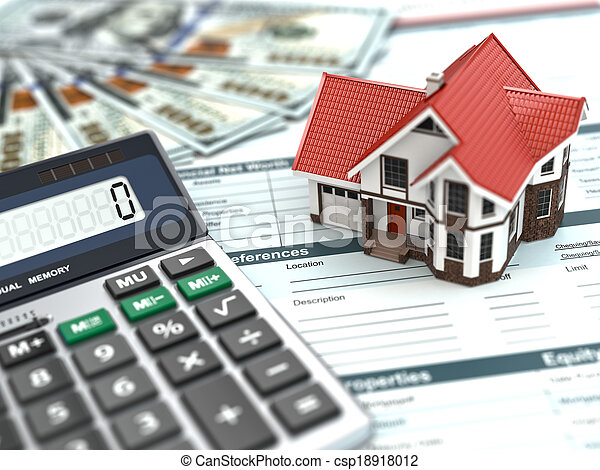 Mortgage calculator. House, money and document. - csp18918012
