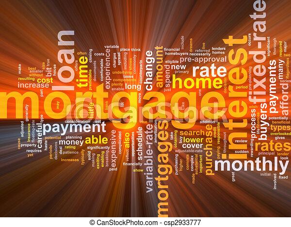 Mortgage word cloud glowing - csp2933777