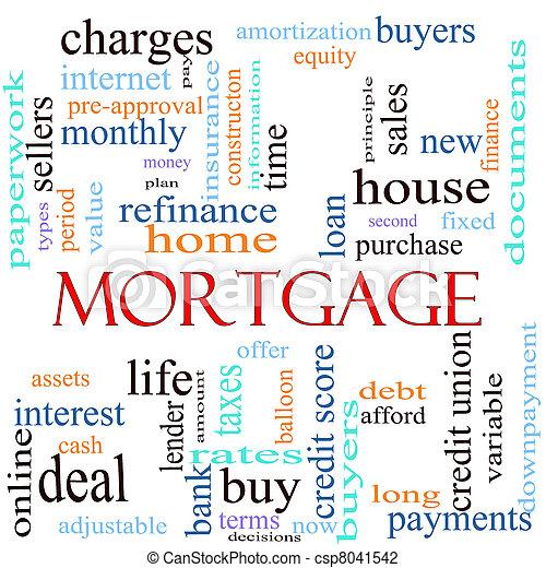 Mortgage word concept illustration - csp8041542
