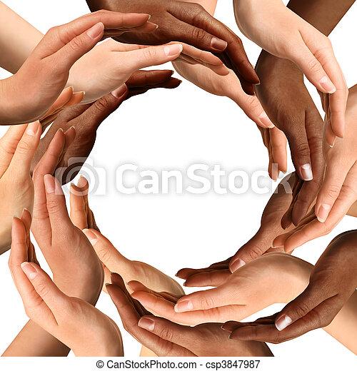 Multiracial Hands Making a Circle - csp3847987