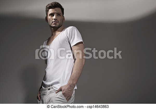 Muscular handsome man wearing spring clothes - csp14643863