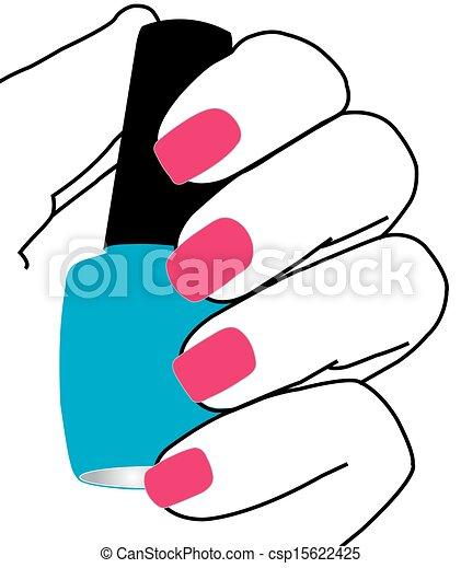 Nails with a nail polish in hand - csp15622425