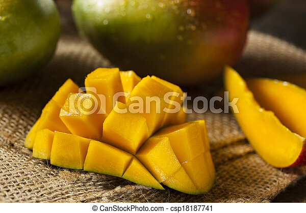 Organic Colorful Ripe Mangos - csp18187741
