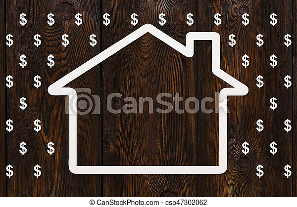 Paper house in rain of dollars, money concept. Abstract conceptual image - csp47302062