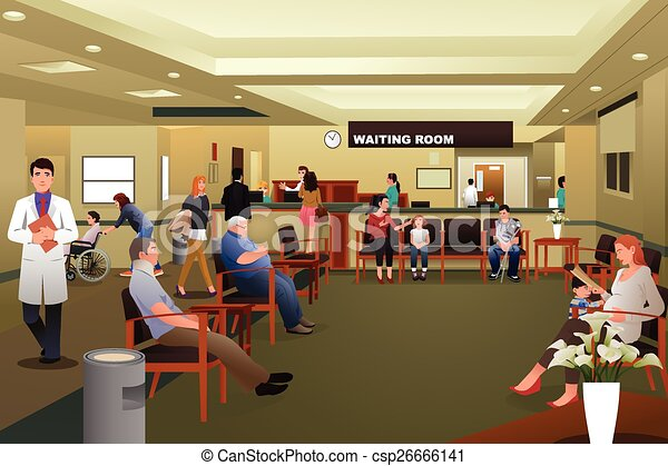 Patients waiting in a hospital waiting room - csp26666141