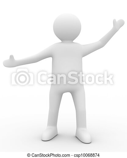 person in greeting pose. Isolated 3D image - csp10068874