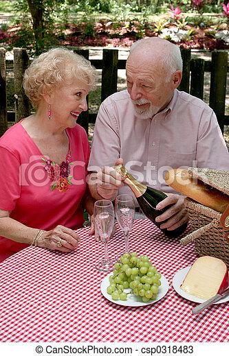 Picnic Seniors - Opening Wine - csp0318483